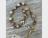 Natural Tibetan Agate and Bronze One Decade Chaplet Rosary