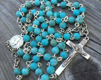 Turquoise and silver Catholic 5-decade Rosary