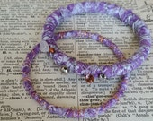 Upcycled Purple Cotton Wrapped Charm Bangles