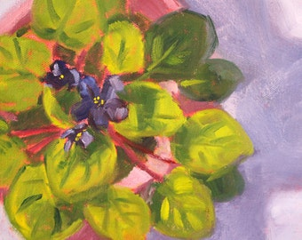 Still Life Oil Painting, African Violet, Original Small Flower, Purple Green Pink, 8x10 Canvas, Lavender Floral, Romantic Gift, House Plant