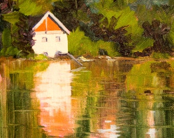 Landscape Oil Painting, Original 8x10 Canvas, Pump House, River, Lake Reflection, Green Orange, Building, Summer Scene, Wall Decor, Rural