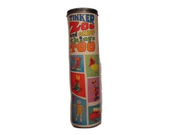 Vintage Tinker Toy Zoo Tube Container ONLY, 237, home decor, decorative storage container, 70s, display piece