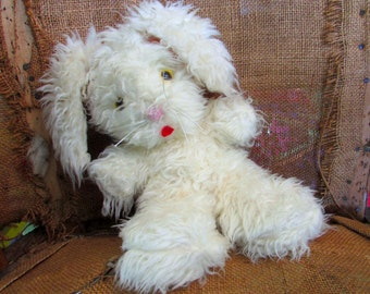 Vintage Fluffy Floppy Eared Stuffed Bunny Rabbit Toy, shabby chic, 70s, home décor