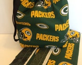 SALE! Green Bay Packers NFL Football Triple Shot Drawstring project bag. Organize knitting, toiletries, toys, electronics and more!