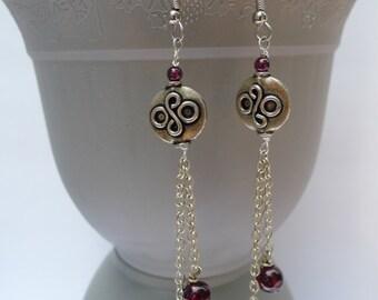 Garnet and Swirl Disk Dangle Earrings-Natalia