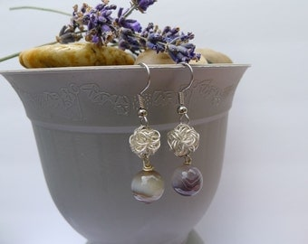 Botswana Agate and Silver Coil Drop: Phoebe Earrings