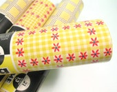 Vintage drawer shelf lining, Roylining brand rolls of wrapping or lining paper, yellow and pink daisy