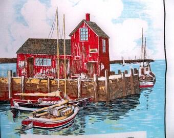 Vintage 1974 Linen Calendar Towel - Wall Hanging - Fishing Boats