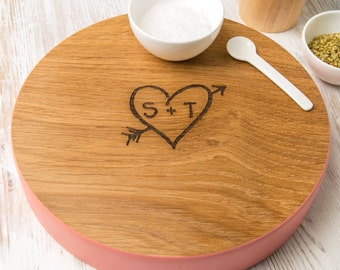 Personalised Carved Heart Solid Wood Board