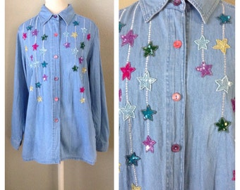 Vintage 90s light denim embroidered shirt / button down / street fashion / fall trends