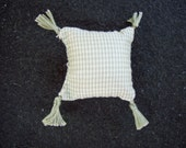 One Dollhouse Miniature Sage Green and Off-White Plaid Pillow (Square with Tassels)