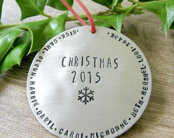 LARGE Personalized Silver Christmas Ornament, Large Family Ornament, Names ornament, Christmas 2016 ornament,  57 character max