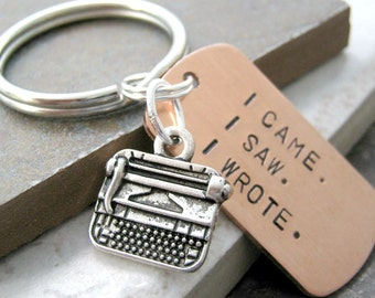 TYPEWRITER Keychain, I came. I saw. I wrote. great gift for the writer, blogger, author, novelist, typist, typing, writing