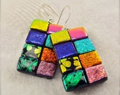 Dichroic glass handmade, dichroic earrings, trending now, patchwork jewelry, rainbow earrings, glass earrings,handmade jewelry, glass fusion