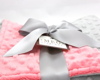 Coral & Silver Grey Minky Dot Baby Girl Blanket 975