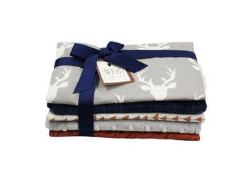 Navy Blue // Gray // Brown // Archer Baby Boy Burp Cloth Set of 5 { Arrows & Deer } 174