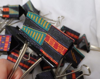 """Set of Three Large African Textile Clips Large Binder Clips 90's style 2"""" Binder Clips Office Accessories School Supplies Boho African"""