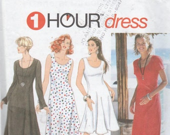 Simplicity Sewing Pattern 1 Hour Woman's Scoop Neck Flared Dress 18 20 22 24