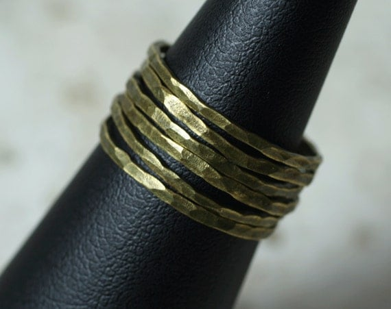 Hand hammered antique brass midi ring, knuckle ring, stack rings, stackable rings, 2 pcs (item ID ABSR)
