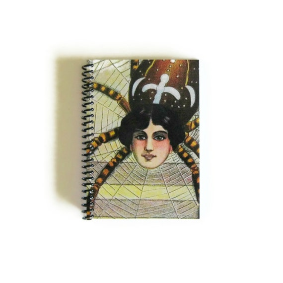 Spider Woman Spiral Notebook, Vintage Circus 4x6 Inches Diary Journal Blank Sketchbook Writing Cute Spiral Bound Under 15 Paper Pocket A6