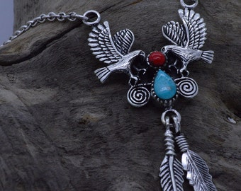 Sterling silver Two Eagles Necklace with Genuine Turquoise, red Coral & dangling Feathers