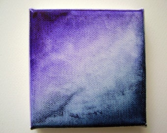 Surreal skies miniature abstract painting 4 x 4 inches acrylic on canvas