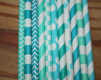 Shades of Aqua Paper Straws - Party Straws