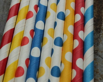 Superman Theme Party - Red, blue, yellow paper straws