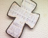 Amazing Grace Wood Wall Hymnal Cross Made to Order