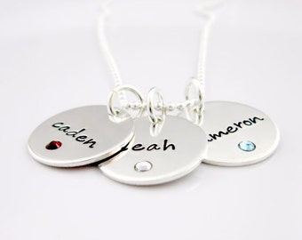 Personalized Jewelry - Mother's Necklace - Birthstone Necklace - Hand Stamped Necklace - Sterling Silver Name Charms  - Gift For Mom