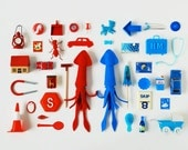 Print: Red Squid, Blue Squid - art miniature collage photograph digital felt toy figurine retro