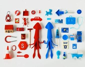 Print: Red Squid, Blue Squid - art miniature collage photograph digital art felt toy figurine retro wall decor