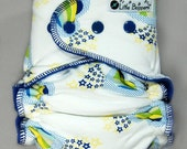 Cloth Diaper AI2 Medium Long Wind Pro - Shooting Hearts and Stars - Windpro All-in-2 Nappy Blue White All in Two Diaper