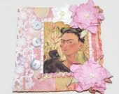 Mixed Media Mini Quilt Wall Hanging Frida Kahlo Pink and Yellow