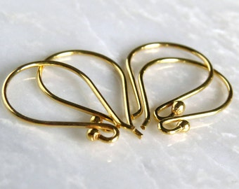 Vermeil Ball Earwire 21g 18mm Bali Ear Wire : 2, 5 or 10 Pair Vermeil French Ear Wire