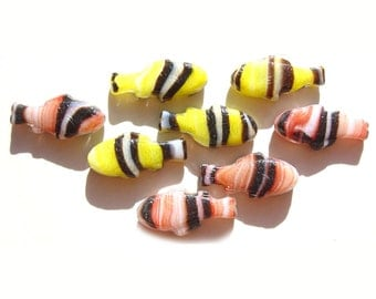 Tropical Fish Glass Beads Coral White Black Yellow