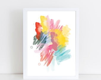 "Watercolor Abstract Art, ""Summer Splash"", Instant Download, Printable Art, Digital Print, Abstract Print, Abstract Wall Art"