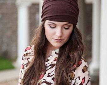 Adult Headwrap, Brown Headwrap, Stretchy Headwrap, Stretchy Head Wrap, Extra Wide Hair Wrap, Womens Wide Headband, Wide Head Band, Hairwrap