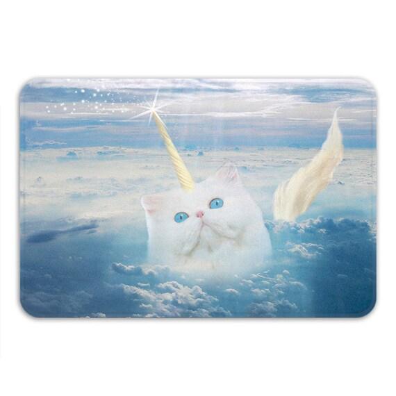 Caticorn Memory Foam Bath Mat Funny Cat Unicorn Bathroom Rug