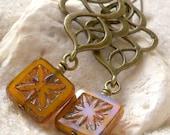 Gift For Her - Bead Earrings - Boho Earrings - Orange Earrings - Boho Jewelry - Long Earring - Long Beaded Earrings - Gift For Mom