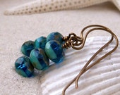 Glass Bead Earrings - Glass Beaded Jewelry - Handmade Bead Earrings - Turquoise Czech Glass Bead Earrings - Dangle Earrings - Blue Earrings