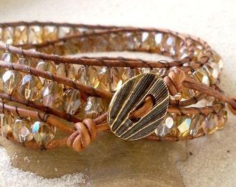 Gift Idea - Boho Bracelet - Leather Wrap Bracelet - Brown Bracelet - Triple Wrap Bracelet - Women's Leather Bracelet - Bohemian Jewelry