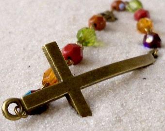 Sideways Cross Bead Bracelet - Sideways Cross Bracelet - Antique Brass Cross Bracelet - Glass Beaded Bracelet - Glass Bead Bracelet