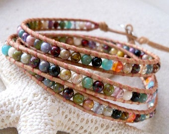 Leather Wrap Bracelet - Boho Bracelet - Gift Idea - Handmade Bracelet - Multi Colored Bracelet - Bead Bracelet - Handmade Jewelry