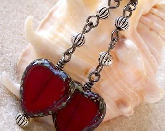 Glass Beaded Earrings - Czech Glass Earrings - Heart Earrings - Long Dangle Earrings - Glass Heart Earrings - Red Earrings - Women's Earring