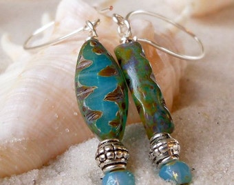 Women's Earrings - Long Dangle Earrings - Aqua Blue Earrings - Beaded Dangle Earrings - Premium Czech Opal Glass - Long Oval Bead Earrings