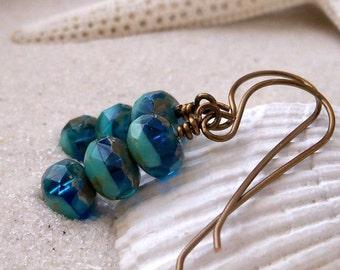 Glass Bead Earrings - Glass Beaded Jewelry - Handmade Bead Earrings - Turquoise Czech Glass Bead Earrings - Dangle Earrings - Blue Earrings