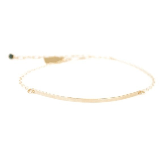 Simple Bar ID Delicate Chain Bracelet - Recycled Metal