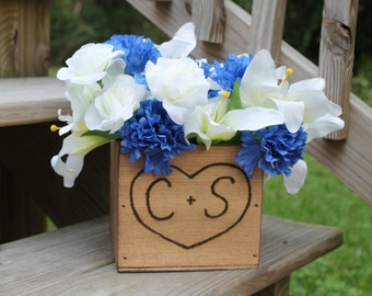 4 Rustic Wedding Wooden Centerpiece Woodland flower box Country Barnwood style Planter Personalized Heart with Initials