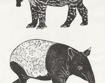 Tapir and Baby Linocut